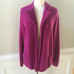 Talbots Berry Lambswool Blend Cardigan Sweater